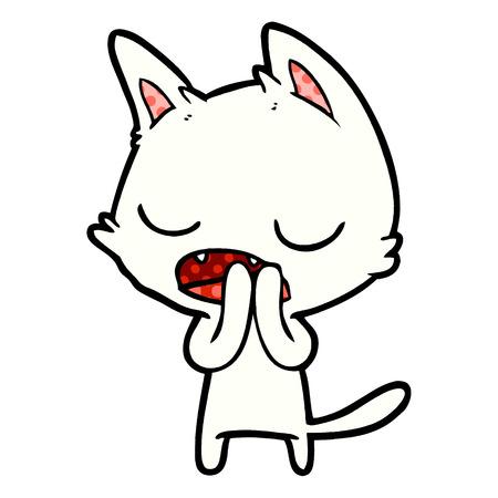 Hand drawn talking cat cartoon Illustration