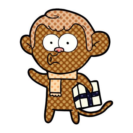 手描き漫画クリスマスモンキー