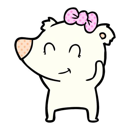 Hand drawn female polar bear cartoon