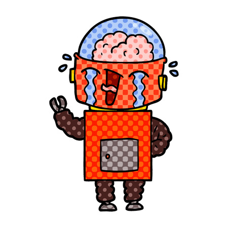 Hand drawn cartoon crying robot