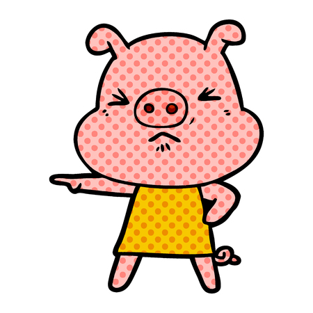 Hand drawn cartoon angry pig 矢量图像