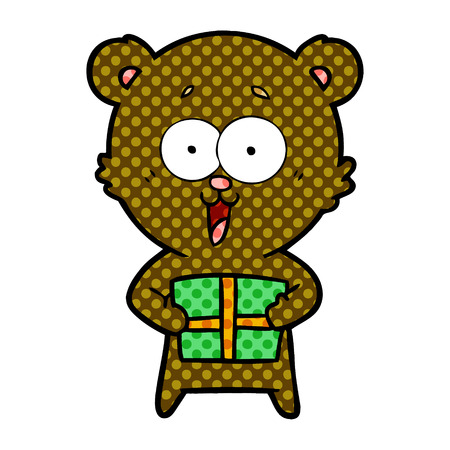 Hand drawn laughing teddy bear with Christmas present