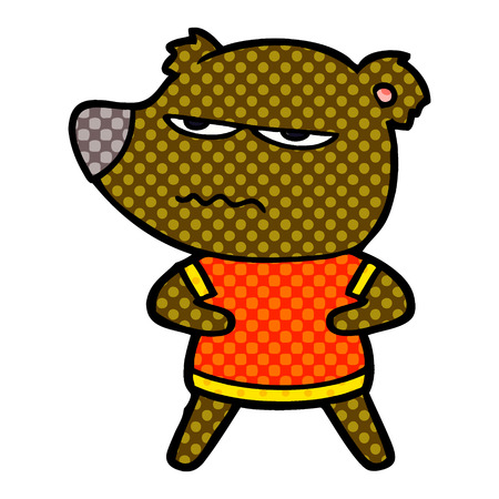 Hand drawn annoyed bear cartoon