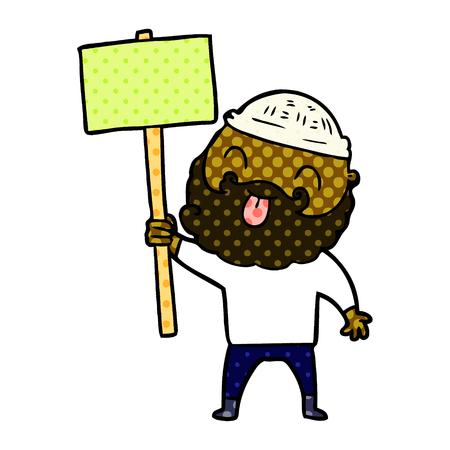 bearded protester cartoon Vector illustration.