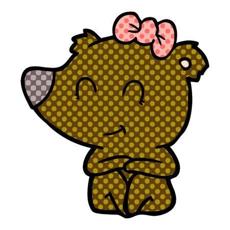 Female bear cartoon isolated on white background Archivio Fotografico - 95608568