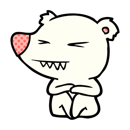 Hand drawn angry polar bear cartoon sitting
