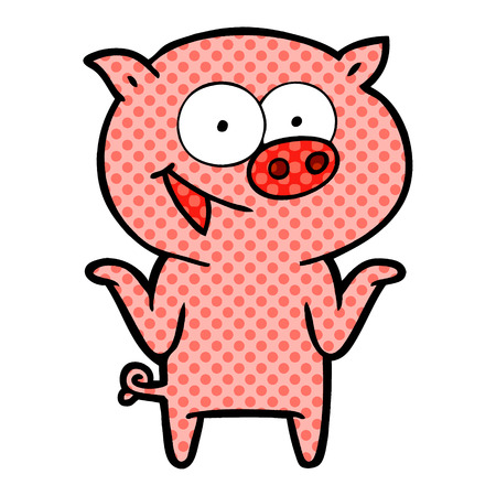 Cartoon pig with no worries isolated on white background