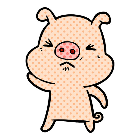 Hand drawn cartoon grumpy pig