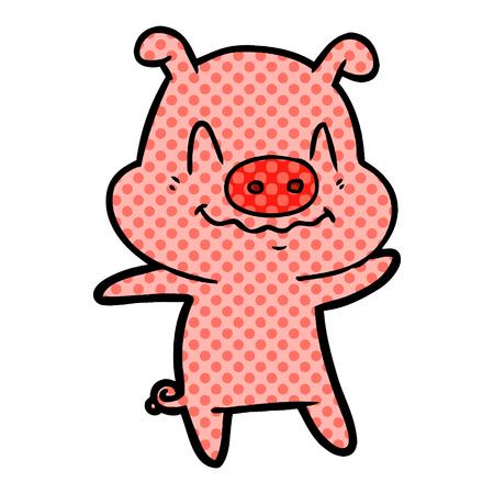 Nervous cartoon pig isolated on white background