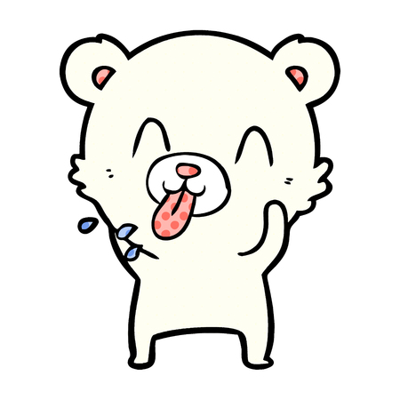 Hand drawn rude cartoon polar bear sticking out tongue