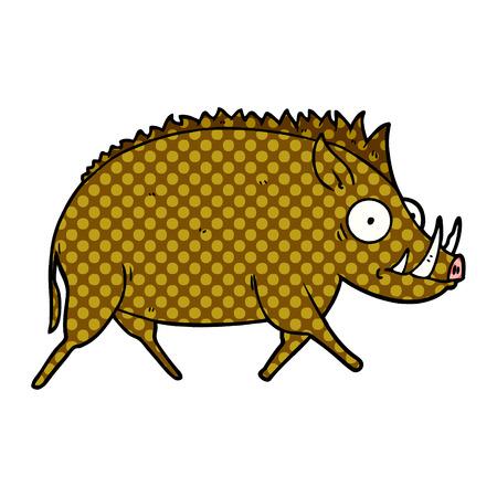 Cartoon wild boar isolated on white background Illustration