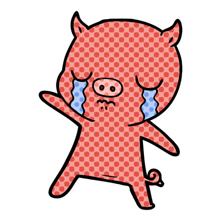 Hand drawn cartoon pig crying Çizim