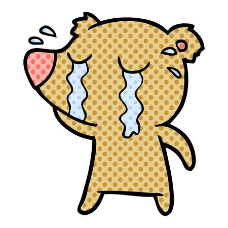 Hand drawn cartoon crying bear