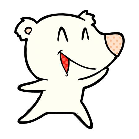 Hand drawn laughing polar bear cartoon