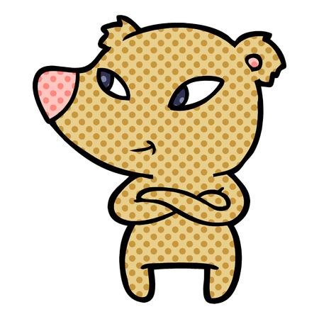 Hand drawn cute cartoon bear with crossed arms