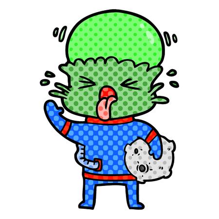 Hand getekend raar cartoon alien