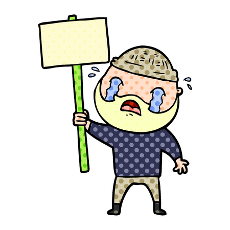 Hand drawn cartoon bearded protester crying Illustration