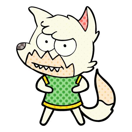 Hand drawn cartoon grinning fox Illusztráció