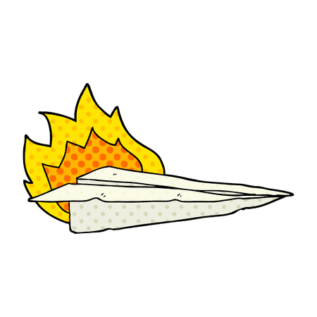 Isolated vector on white background, cartoon burning paper airplane