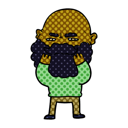Hand drawn cartoon man with beard frowning checking his beard Ilustrace