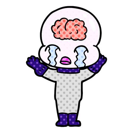 白い背景に隔離された漫画の大きな脳エイリアンの泣き声  イラスト・ベクター素材