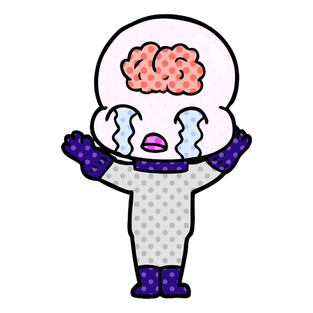 Cartoon big brain alien crying isolated on white background