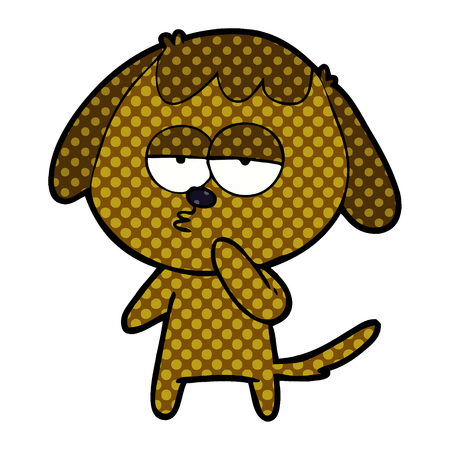 Hand drawn cartoon tired dog