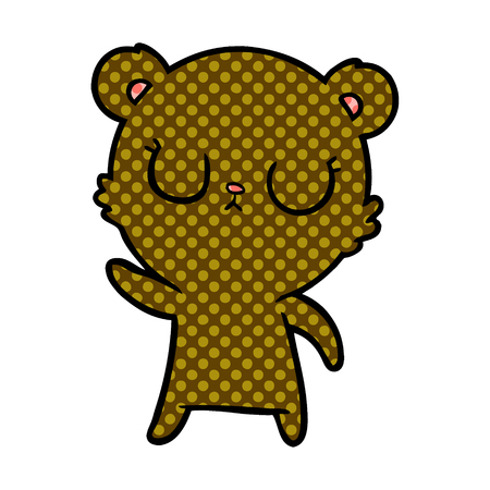 Hand drawn peaceful cartoon bear