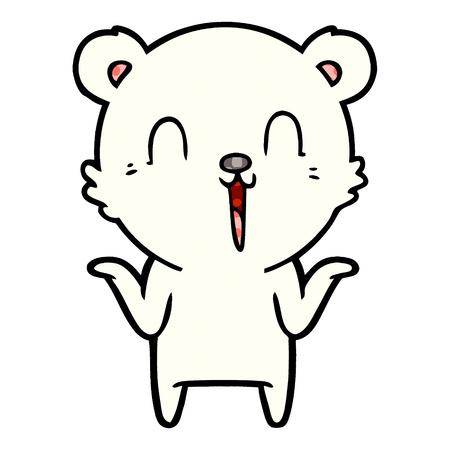 Hand drawn happy cartoon polar bear with no worries
