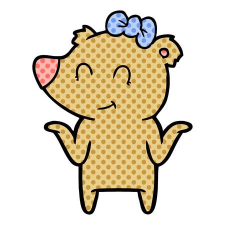 Female bear cartoon isolated on white background Illustration