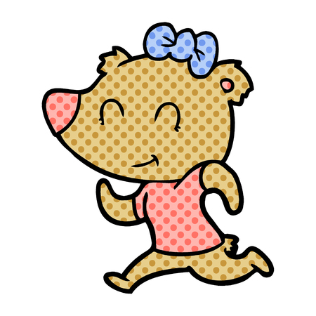 Hand drawn female bear jogging