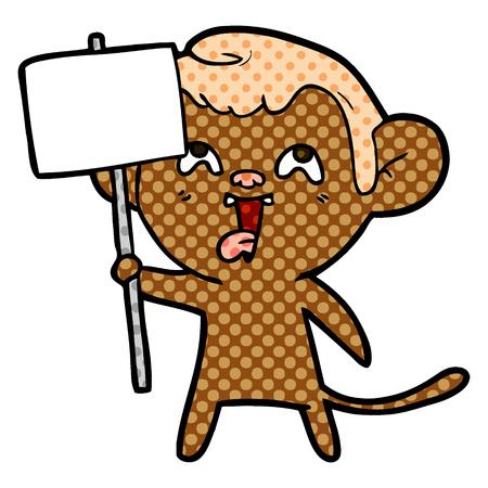 Hand drawn crazy cartoon monkey with sign