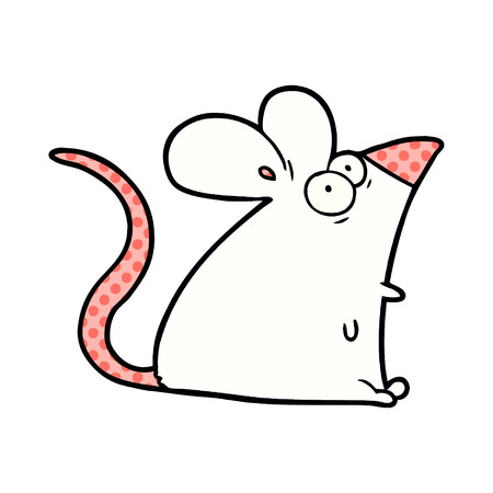 Hand drawn cartoon frightened mouse Ilustrace