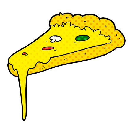 Hand drawn cartoon slice of pizza Çizim