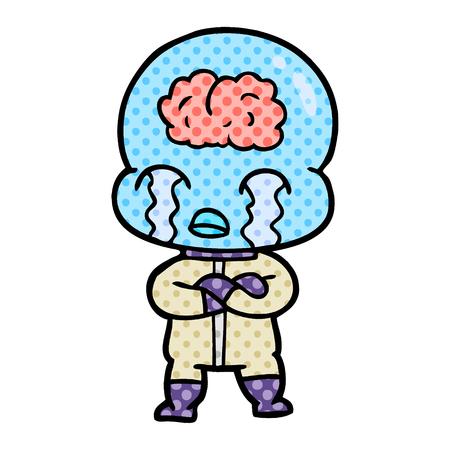 Hand drawn cartoon big brain alien crying Illusztráció