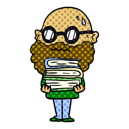 Hand drawn cartoon worried man with beard and stack of books Illustration