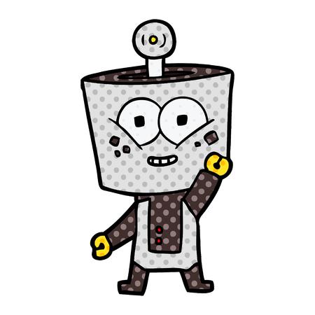 Hand drawn happy cartoon robot waving hello Stock Vector - 95642922