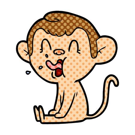 Crazy cartoon monkey sitting isolated on white background