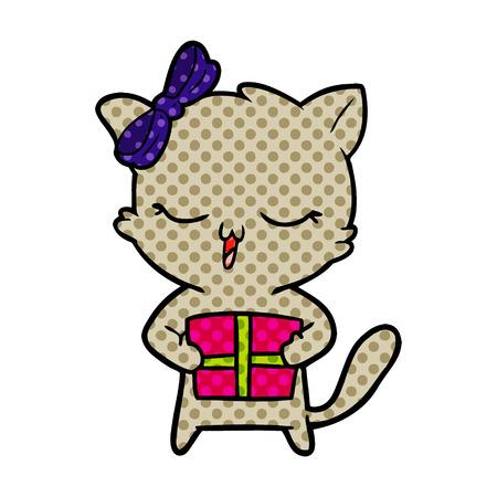 Hand drawn cartoon girl cat with Christmas present Illustration