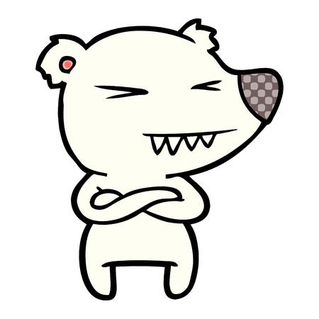 Hand drawn angry polar bear cartoon with folded arms Illusztráció