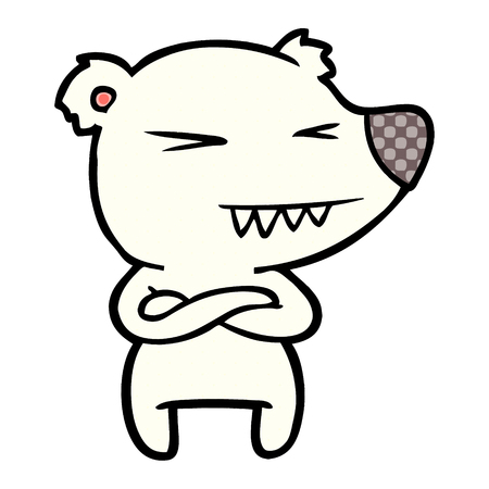 Hand drawn angry polar bear cartoon with folded arms Illustration