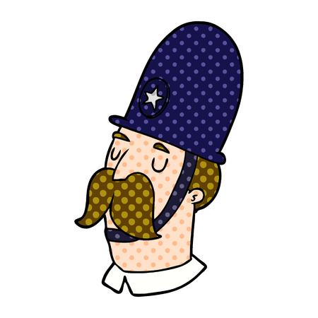 口ひげを持つ手描き漫画の警官