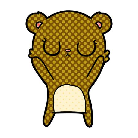 白い背景に孤立したベクトル、平和な漫画クマの子