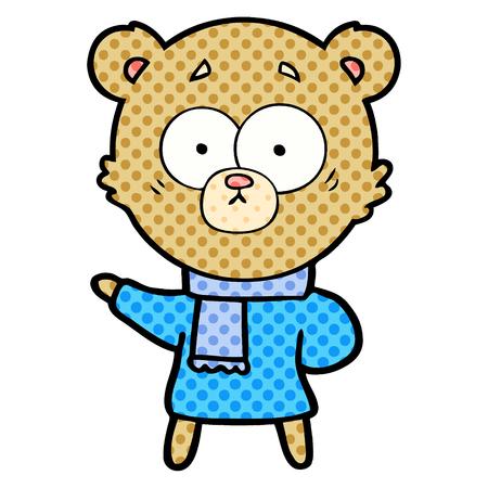 Hand drawn surprised bear cartoon