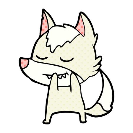 Hand drawn laughing cartoon wolf Illustration