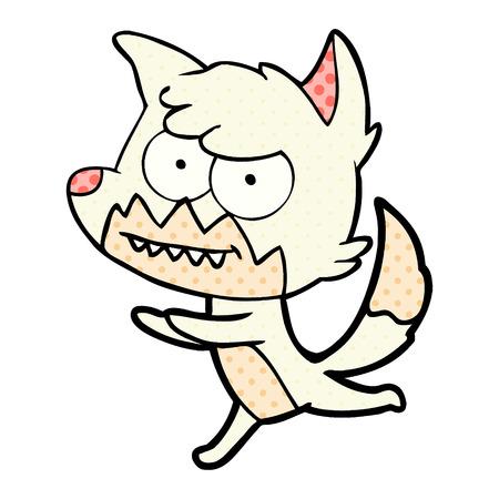 Hand drawn cartoon grinning fox Ilustrace