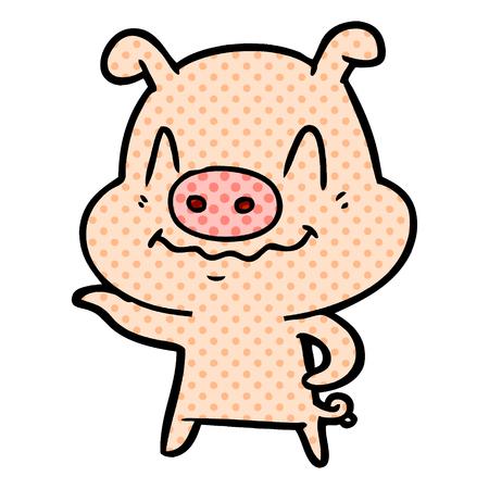 Hand drawn nervous cartoon pig 일러스트