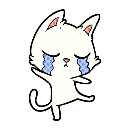 Crying cartoon cat performing a dance