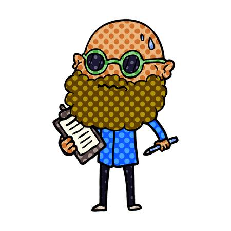 Cartoon worried man with beard and sunglasses taking survey Çizim