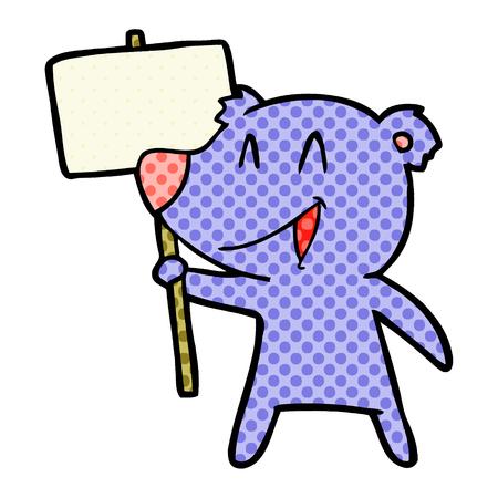 Protester bear cartoon isolated on white background Illustration